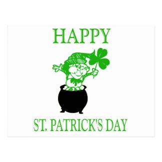 Glücklichen St Patrick Tageskobold Postkarte