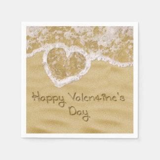 """""""Glücklichen Valentinsgrußes"""" geschrieben in Sand Serviette"""