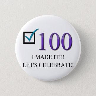 Glücklicher 100. Geburtstag Runder Button 5,7 Cm