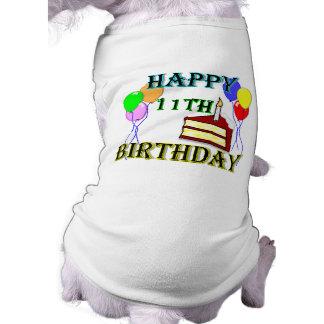 Glücklicher 11. Geburtstag mit Kuchen, Ballonen un Hund T-shirt