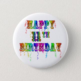 Glücklicher 11. Geburtstag steigt Knopf im Ballon Runder Button 5,1 Cm
