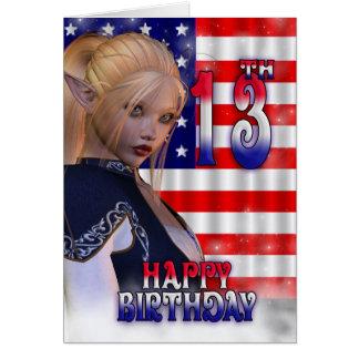 Glücklicher 13. Geburtstag, amerikanische Flagge, Karte