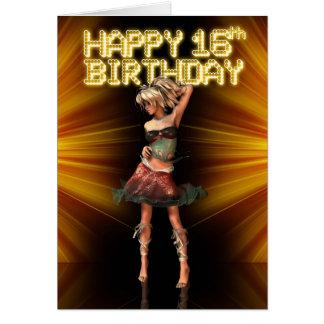 Glücklicher 16. Geburtstag Deva auf der Bühne Grußkarte