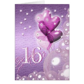 Glücklicher 16. Geburtstag steigt helles im Ballon Grußkarte