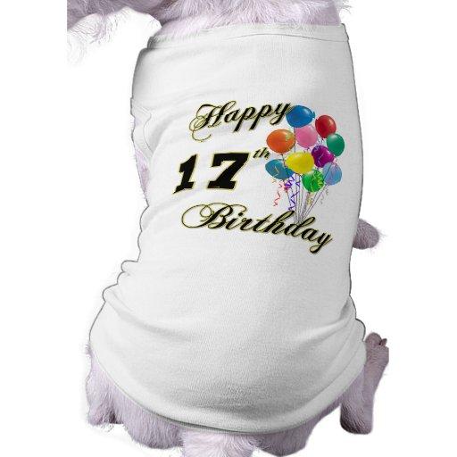 Glücklicher 17. Geburtstags-Entwurf mit Ballonen Hunde T Shirt