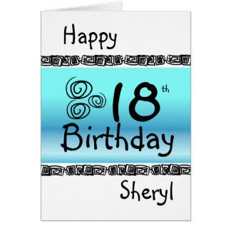 Glücklicher 18. Geburtstag grafischer blauer Karte