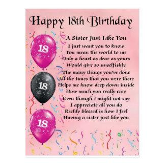 Glücklicher 18 Geburtstag - Schwester-Gedicht Postkarte