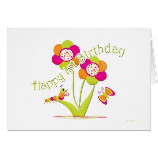 Glücklicher 1. Geburtstag Caterpiller - Karte