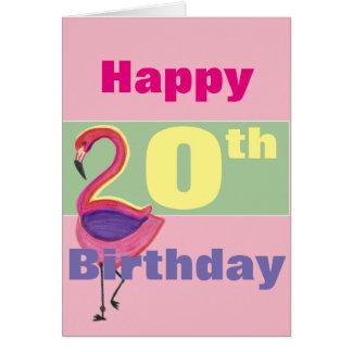 Glücklicher 20. Geburtstag mit einem Flamingo Grußkarte