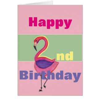 Glücklicher 2. Geburtstag mit einem Flamingo Grußkarte