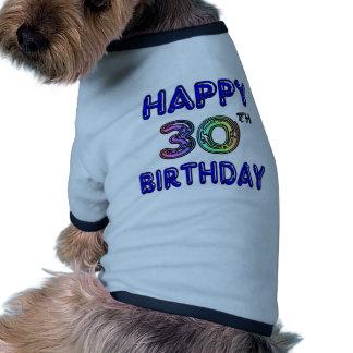 Glücklicher 30 Geburtstags-Entwurf im Ballon-Schr Haustierbekleidung