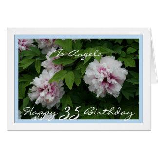 Glücklicher 35. Geburtstag kundengerecht mit Karte