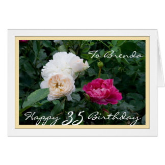 Glücklicher 35. Geburtstag kundengerecht mit Rosen Karte