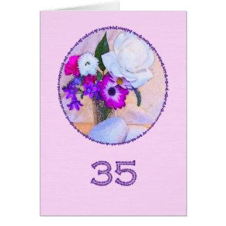 Glücklicher 35. Geburtstag mit einer Blumenmalerei Karte