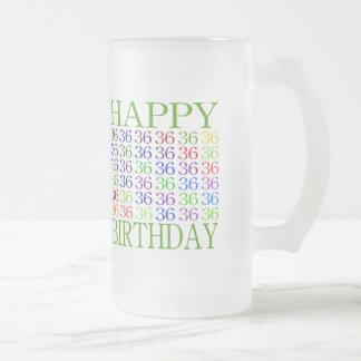 Glücklicher 36. Geburtstag Mattglas Bierglas
