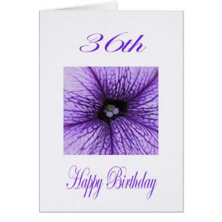 Glücklicher 36. Geburtstags-lila Blüte Karte