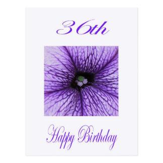 Glücklicher 36. Geburtstags-lila Blüte Postkarte