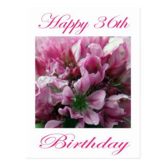 Glücklicher 36. Geburtstags-rosa und grüne Blume Postkarte