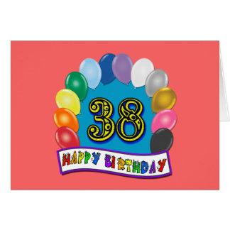 Glücklicher 38. Geburtstags-Ballon-Bogen Karte