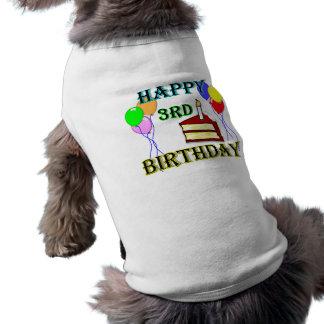 Glücklicher 3. Geburtstag mit Kuchen, Ballonen und Hund T Shirts