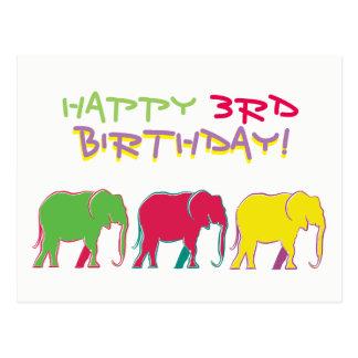 Glücklicher 3. Geburtstags-bunter Postkarte