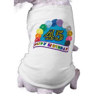 Glücklicher 45. Geburtstags-Ballon-Bogen Hund Shirts