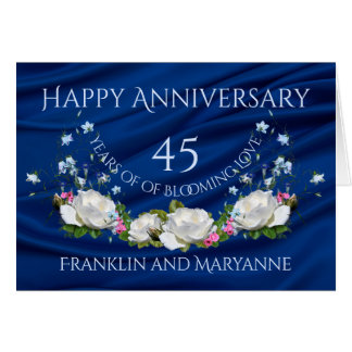 Glücklicher 45. Jahrestags-weißer Rosen-Saphir Karte