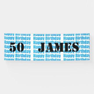 Glücklicher 50. Geburtstag in der blauen Banner