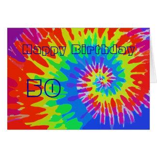Glücklicher 50. Geburtstags-Groovy Krawatten-Karte Karte