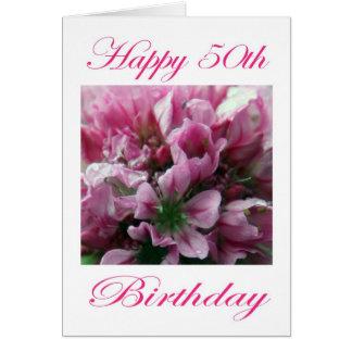 Glücklicher 50. Geburtstags-rosa und grüne Blume Karte