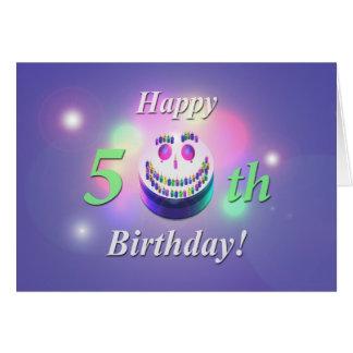 Glücklicher 50. Geburtstags-smiley-Kuchen Karte