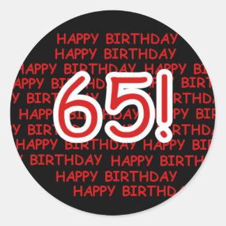 Glücklicher 65. Geburtstag Runder Aufkleber