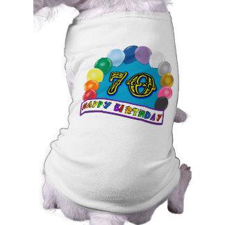Glücklicher 70. Geburtstag mit Ballonen Hund T Shirt
