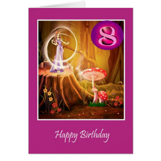 Glücklicher 8. Geburtstag für Mädchen mit Fee Karte
