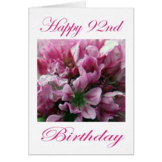 Glücklicher 92. Geburtstags-rosa und grüne Blume Karte