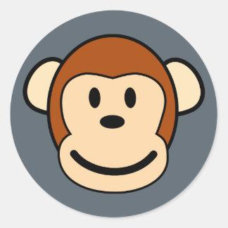 Glücklicher Affe-Gesichts-Aufkleber Runder Aufkleber