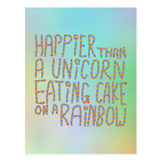 Glücklicher als ein Einhorn, das Kuchen auf einem  Postkarte