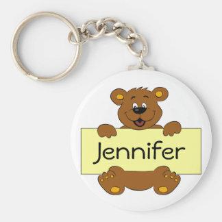 Glücklicher Bär mit kundengerechtem Fahnen-Cartoon Schlüsselanhänger