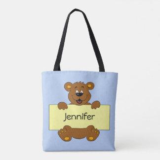 Glücklicher Bär mit kundengerechtem Fahnen-Cartoon Tasche