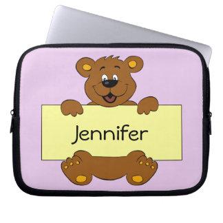 Glücklicher Bär mit kundengerechten Laptopschutzhülle