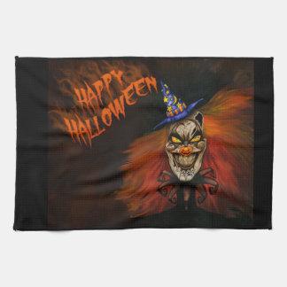 Glücklicher beängstigender Clown Halloweens Geschirrtuch