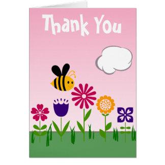 Glücklicher Bienen-Blumen-Garten Mitteilungskarte