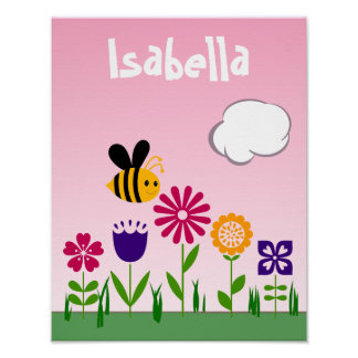 Glücklicher Bienen-Blumen-Garten personalisiert Poster