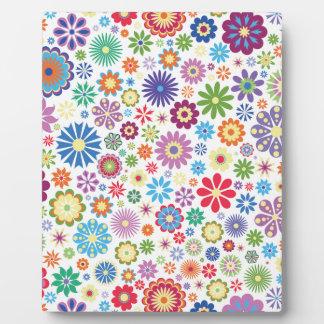 Glücklicher Blumen-Power Fotoplatte