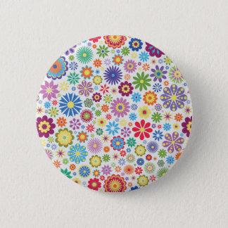Glücklicher Blumen-Power Runder Button 5,7 Cm