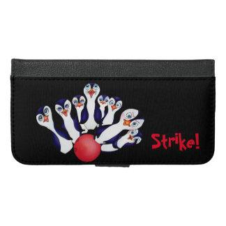 Glücklicher Bowling u. Penguinpins durch den iPhone 6/6s Plus Geldbeutel Hülle