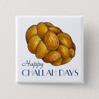 Glücklicher Brot-Knopf Challah-Tageschanukkas Quadratischer Button 5,1 Cm