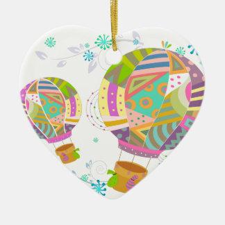 Glücklicher bunter HeißluftBallon Keramik Ornament