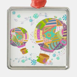Glücklicher bunter HeißluftBallon Silbernes Ornament