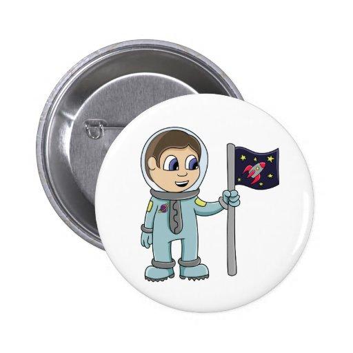 Glücklicher Cartoon-Astronaut, der Rocket-Flagge Buttons